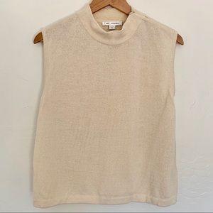Saint John knit mock turtleneck sleeveless blouse